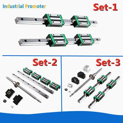 2PCS HGR15/HGR20 200-1700mm Linear Guide Rail +4PCS HGH15/20CA Slide Block  CNC