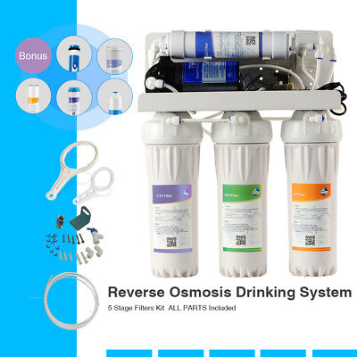 5-Stage 50 GPD RO Water Filter System Reverse Osmosis Filtration for Home Drink