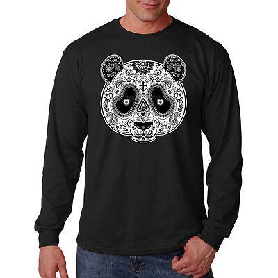 Male Sugar Skull Face Paint (Sugar Skull Face Painted Panda Bear Day Of The Dead Long Sleeve T-Shirt)