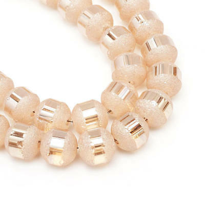 Frosted Glass Beads Textured Light Salmon Full Strand 72 Beads 8~9mm - BD1463