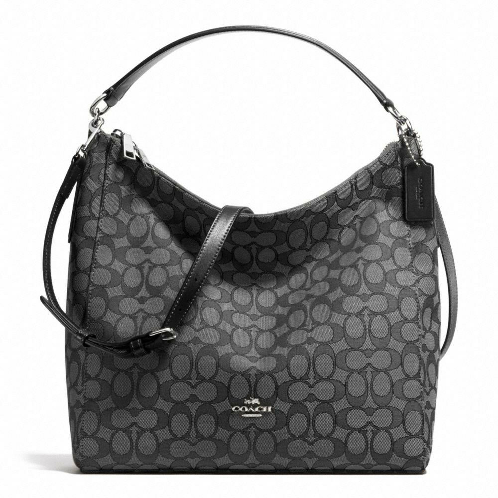 Bag - New Coach F58327 Outline Signature Celeste Hobo Crossbody Bag Black Smoke NWT