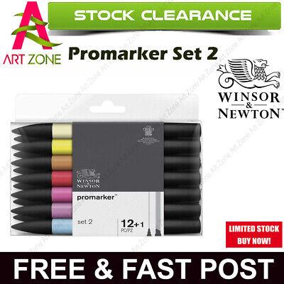 winsor & newton promarker set 2 13 pc 12 + 1 blender