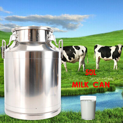50l Stainless Steel Milk Can Dairy Cattle Liquid Container 13.25 Gallon 15 Inch
