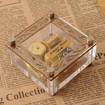ACRYLIC CUBIC GOLD WIND UP MUSIC BOX : CANON IN D