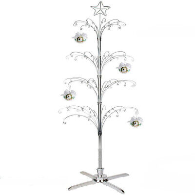 Metal Christmas Tree Rotating Ornament Display Stand Silver Color 74