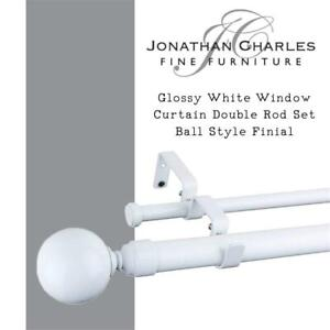 NEW Furnishland Glossy White Window Curtain Double Rod Set Ball Style Finial 1-inch Diameter Adjustable 28-inch to 48...