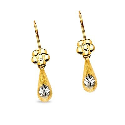 14K Yellow   White Gold Flower Teardrop Dangle Earrings Drop Style Satin