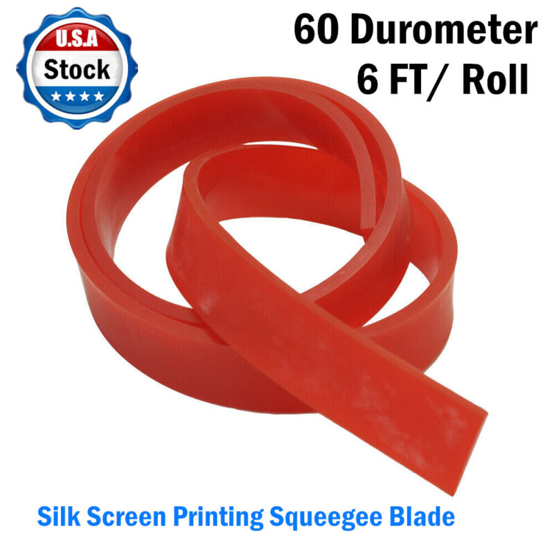 US Stock 6 FT/ Roll Red 60 Duro Durometer - Silk Screen Printing Squeegee Blade