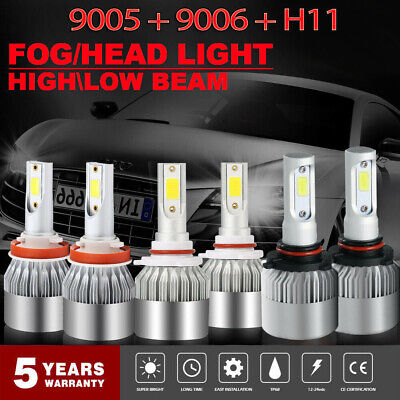 6Pcs Combo 9005 9006 H11 LED Headlight High Low Beam Bulb 6000K Fog Light Sets