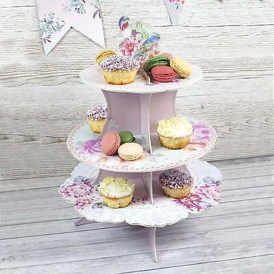 Floral Pastel Three Tier Cardboard Cake Stand Wedding Party Cupcake Stand - Cardboard Cake Stand