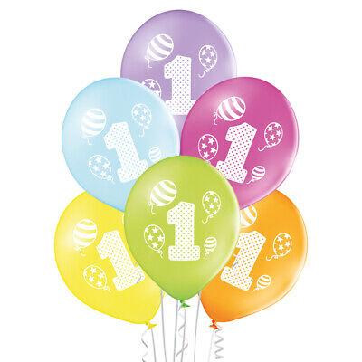 Premium Ballons 6-er Set 1. Geburtstag 27 cm Luftballon 1st Birthday 1 Jahr ()
