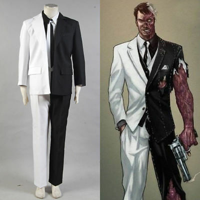 Batman Two-Face Harvey Dent Cosplay Costume Tie Jacket Black White Suit Outfit - Two Face Cosplay Suit