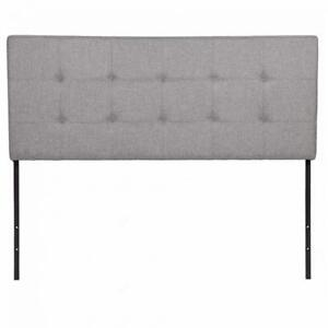 Upholstered Tufted Fabric Headboard Queen Size In Gray Q35