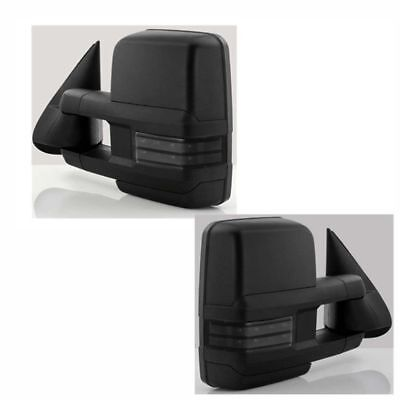For 03-06 Silverado Sierra Black Tow Power+Heated+Smoke LED Turn Signal Mirrors