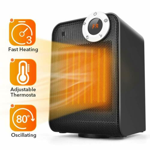 Portable Ceramic Space Heater, 1500w With Adjustable Thermostat, Tip-over