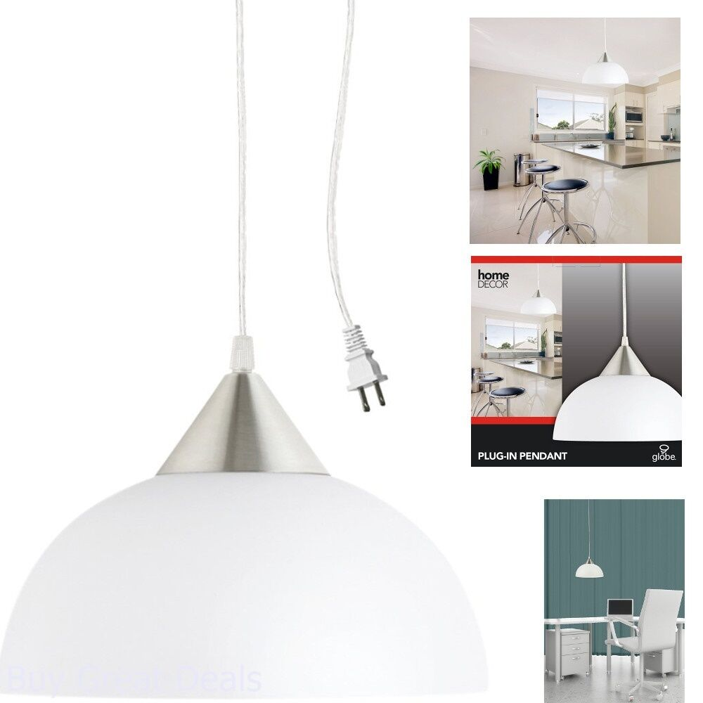 new styles 94a48 100b4 Details about 1 Ceiling Lamp Light Portable Hanging Plug-In Pendant White  Shade Swag Hooks New