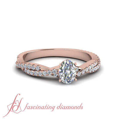 1.15 Ct Oval Shaped Popular Diamond Rings Twisted Pave Set In 14K Rose Gold GIA