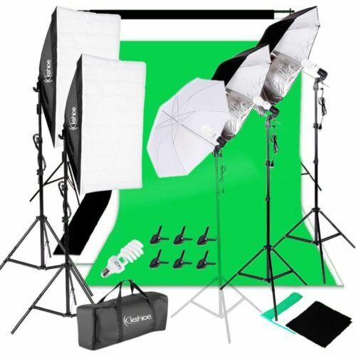Photo Studio Photography Kit 4x 45W Light Bulb Umbrella 3x Backdrop Stand Set