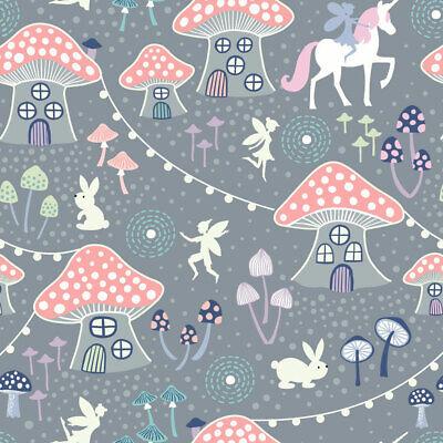 Lewis and Irene Fairy Nights Mushroom Village on Dusky Grey - Per 1/4 Metre