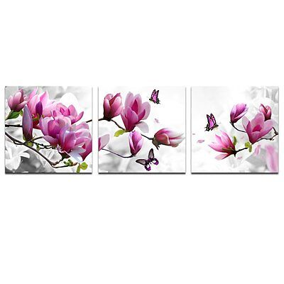 Pink flower Picture Canvas Print Wall Art Home Decoration 3 Panels Framed Gift
