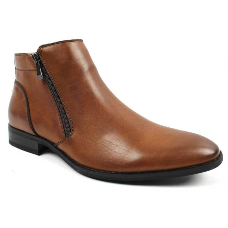 07292d7a8f72 Mens Ankle Dress Boot Slip On Almond Round Toe Zipper Leather Chelsea Tayno  Mayo