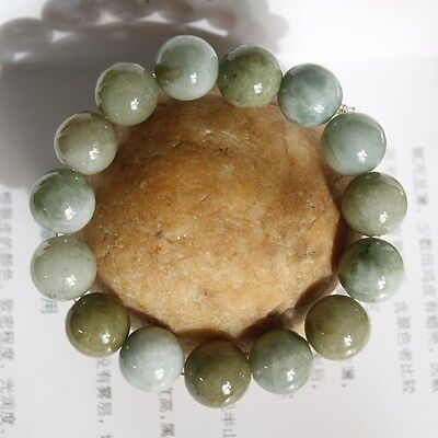 100% Natural (Grade A) Untreated Oily Green Jadeite JADE Beaded Bracelet #Br403