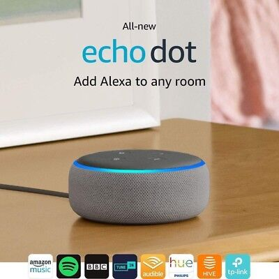 All-new Echo Dot (3rd Gen) - Smart speaker with Alexa - Heather Grey Fabric-NEW