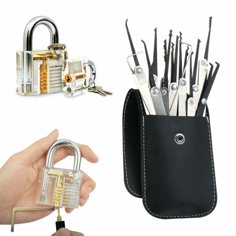 NEW 19PCS Unlocking Lock Pick Set Key Extractor Transparent Practice Padlocks US