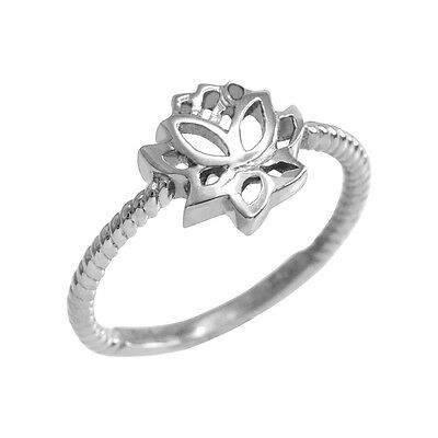 10k White Gold Rope Lotus Flower Ring  Purity and Liberation