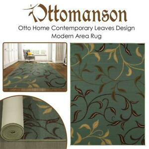 NEW Ottomanson Otto Home Contemporary Leaves Design Modern Area Rug Hallway Runner, 31 L x 120 W, Sage Condtion: Ne...