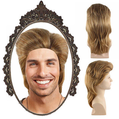 Men Light Brown 80s Mullet Wig Slicked-back Hair Halloween Cosplay Party - Brown's Halloween Party