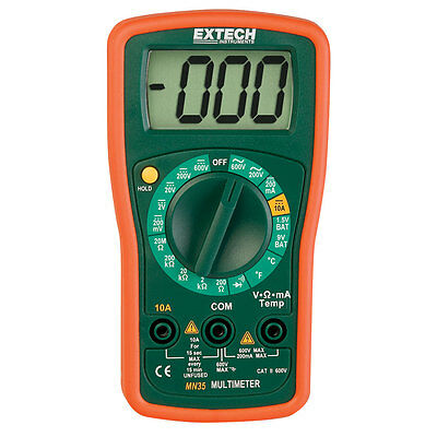 Extech Mn35 Manual Ranging Digital Mini Multimeter With Temp Probe