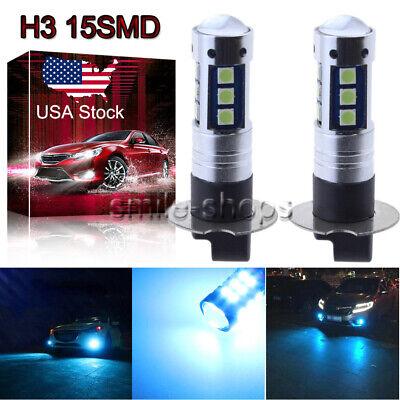 H3 3030 Chip 15SMD LED Fog Light Conversion Kit Super Bright 8000K Ice Blue