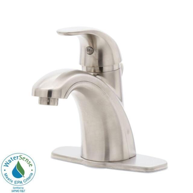 Pfister Parisa 4 In. Centerset 1 Handle Mid Arc Bathroom Faucet Brushed  Nickel