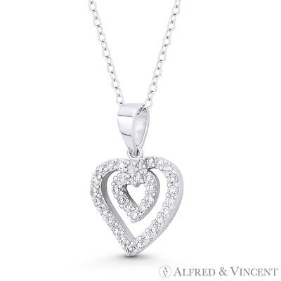 Double-Heart CZ Crystal Love Charm .925 Sterling Silver Rhodium Necklace Pendant