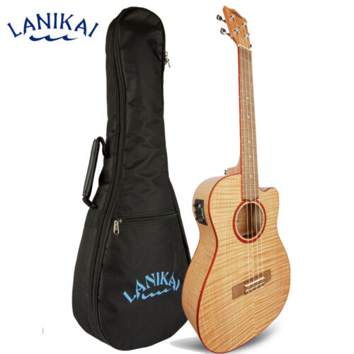 Lanikai FM-CEB Flame Maple Baritone Acoustic Electric Ukulele +  Padded Gig Bag