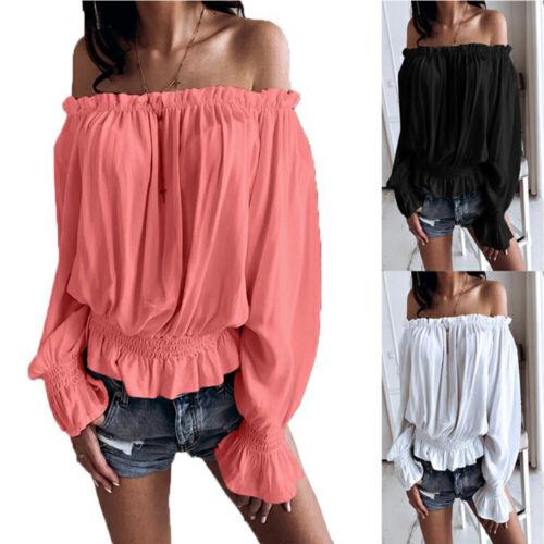Damen Sexy Frill Off-the-Shoulder Shirts Tops Freizeit Carmen Hemdbluse Oberteil