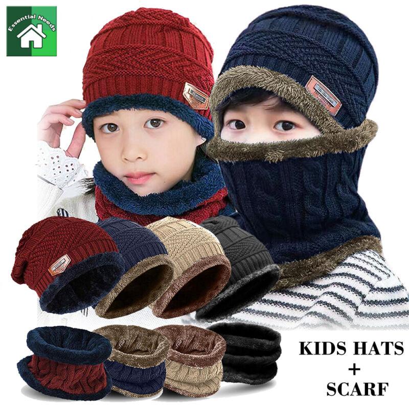 Boy Girl Kids Winter Knit Beanie Hat Circle Scarf Set Fleece Warm Balaclava Cap