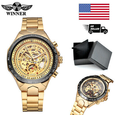 WINNER Skeleton Dial Semi-Automatic Mechanical Watch Men's Wrist Watch J2J4