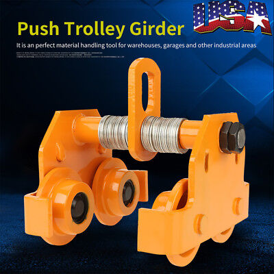 1 Ton Pull Capacity Beam Push Beam Track Roller Trolley For Overhead Garage Us