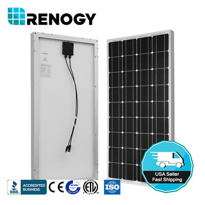 Renogy 100W Watt Solar Panel Mono 12V Volt For Off Grid Rv Boat Battery Charge