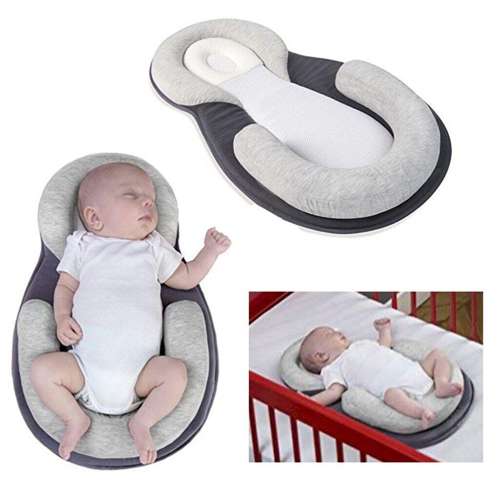 Grey Baby Stroller Cushion Baby Pod Head Pillow Head Body Support Pillow Breathable Foam Nest for Newborn Baby Sleep Aid