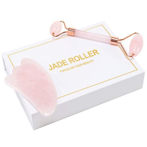 Rose Quartz Facial Jade Stone Roller Beauty Massage Tool Face Natural Massager Health & Beauty