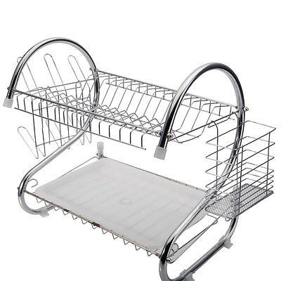Chrome 2 Tiers Dish Drying Drainer Dryer Metal Dish Mug Rack Multifunctional