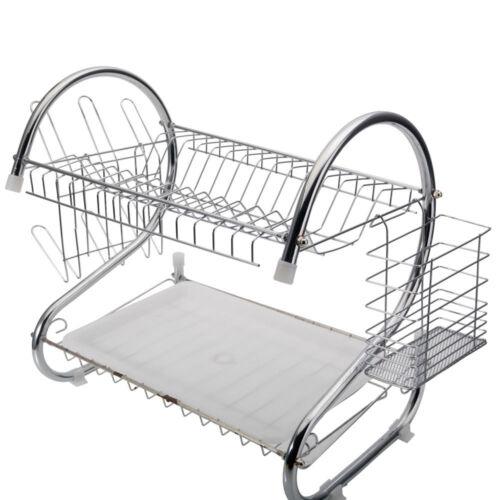 Chrome 2 Tiers Dish Drying Drainer Dryer Metal Dish Mug Rack