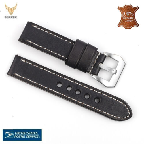 100% Genuine Vintage Leather Watch Strap Band 18mm 20mm 22mm 24mm Us Stock