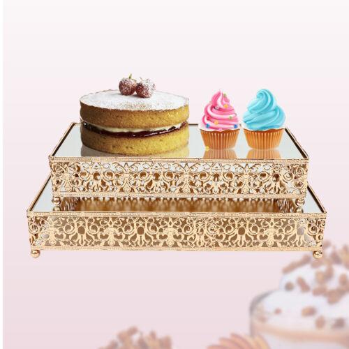 2Pcs Rectangle Mirror-Top Cake Stand Risers Dessert Tray Gol