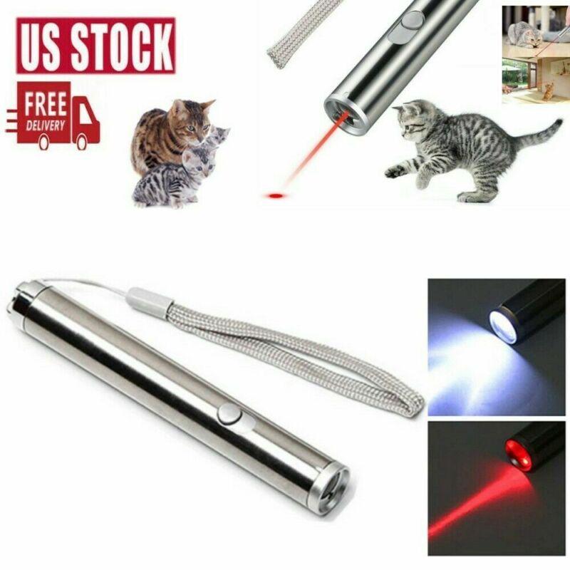 Handheld 1MW 500Miles 2In1 Red Laser Pointer Pen Flashlight Single Beam AA Lazer