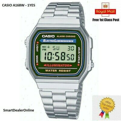 CASIO Retro Classic Unisex Digital Steel Bracelet Watch- A168WA-1YES Silver NEW