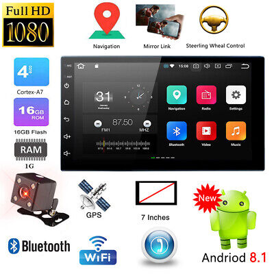 7'' Android 8.1 Double DIN 16G Quad Core GPS Bluetooth Car Stereo MP5 Player FM